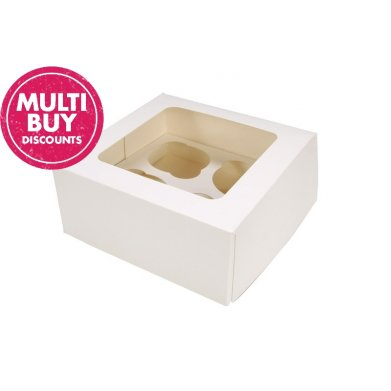 white 4 hole cupcake box with insert